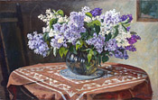 vita37.de | Peter Punt: Fliederstrauß / Bouquet of lilac on a table (#0210)